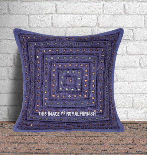 Navy Blue Decorative Mirror Embroidered Sofa Pillow Case - RoyalFurnish.com