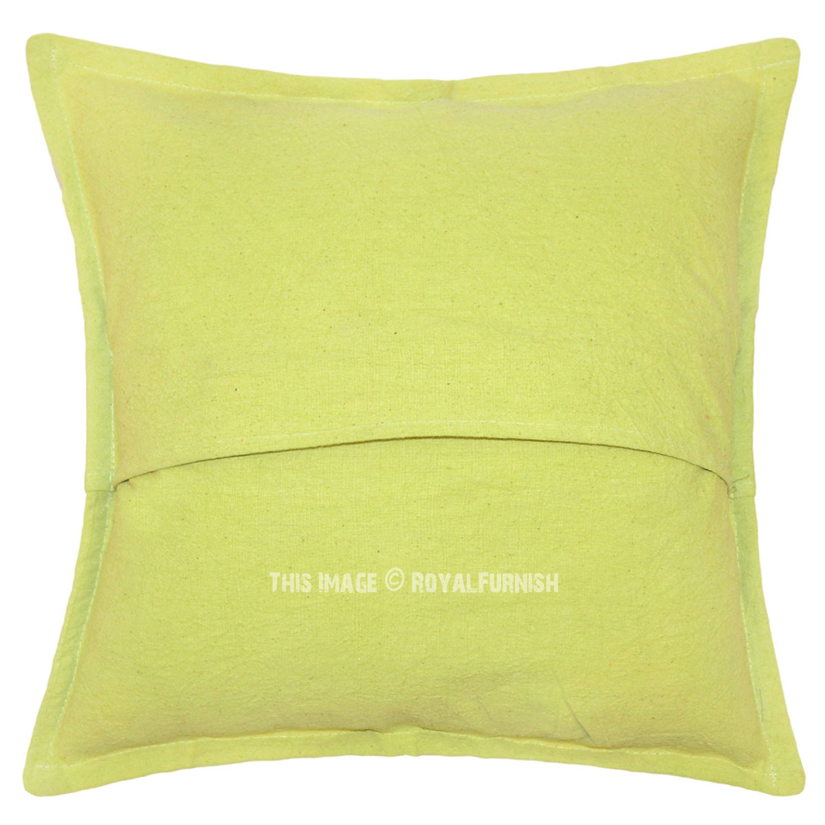 Light Green Mirror Embroidered Cotton Throw Accent Pillow