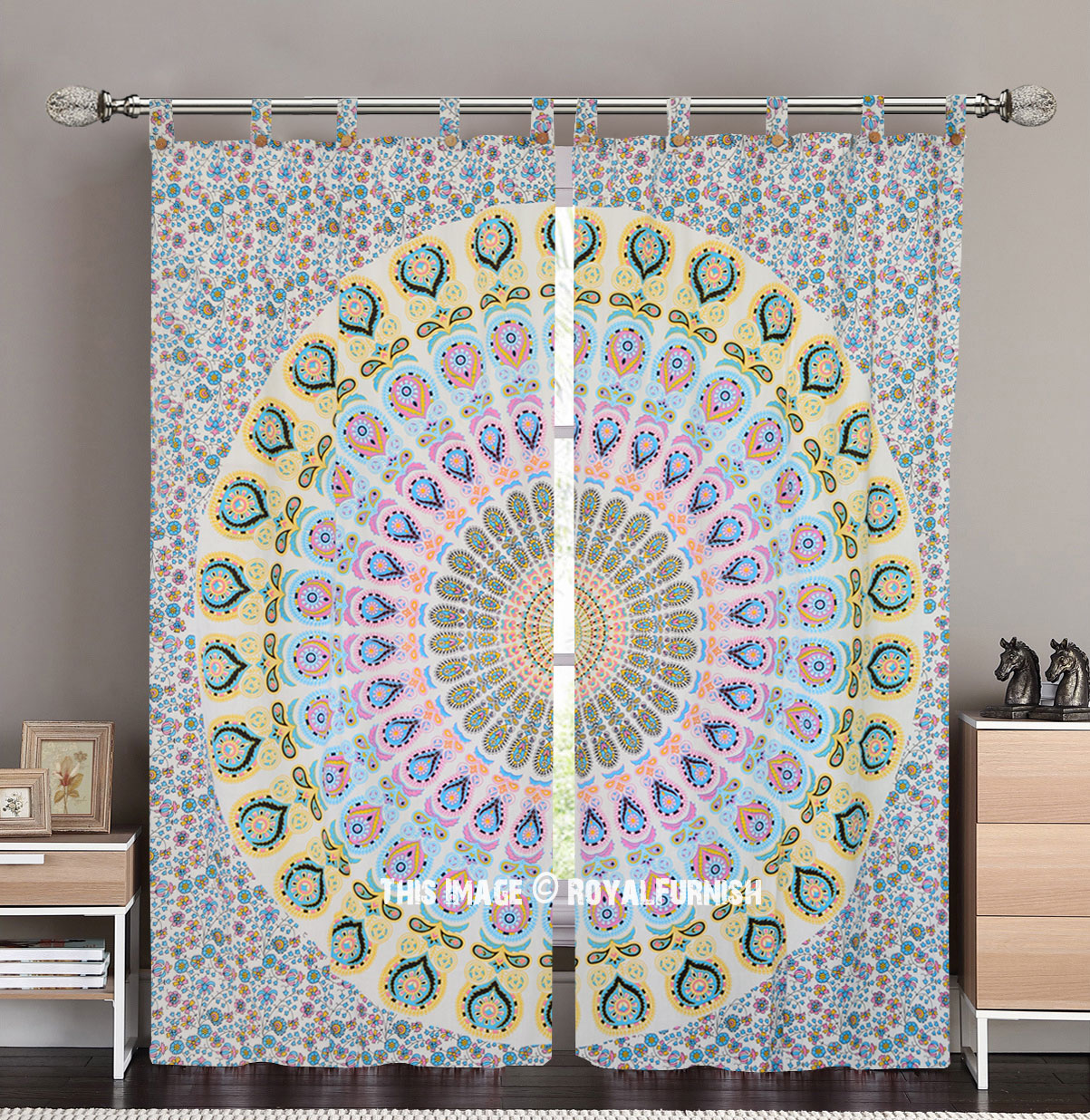 White Amp Yellow Peacock Mandala Tapestry Curtain Panel Pair