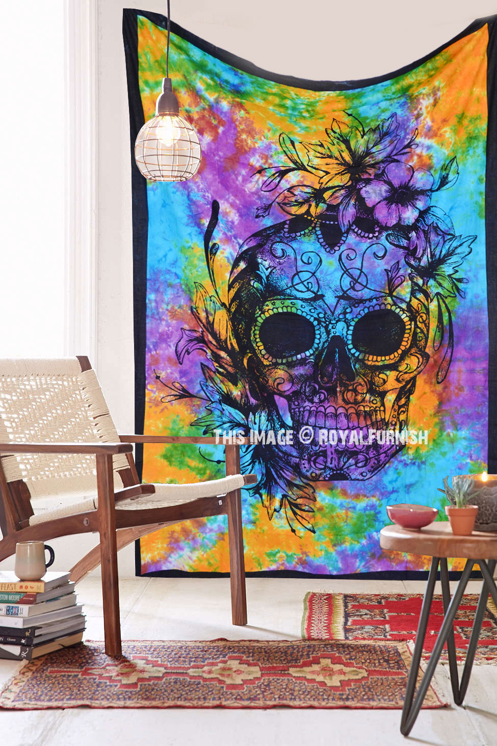 Multi Colorful Psychedelic Skull Tapestry Wall Hanging