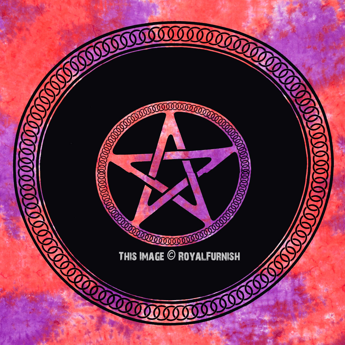 Red Pentacle Pentagram Tie Dye Wicca Pagan Celtic Wall