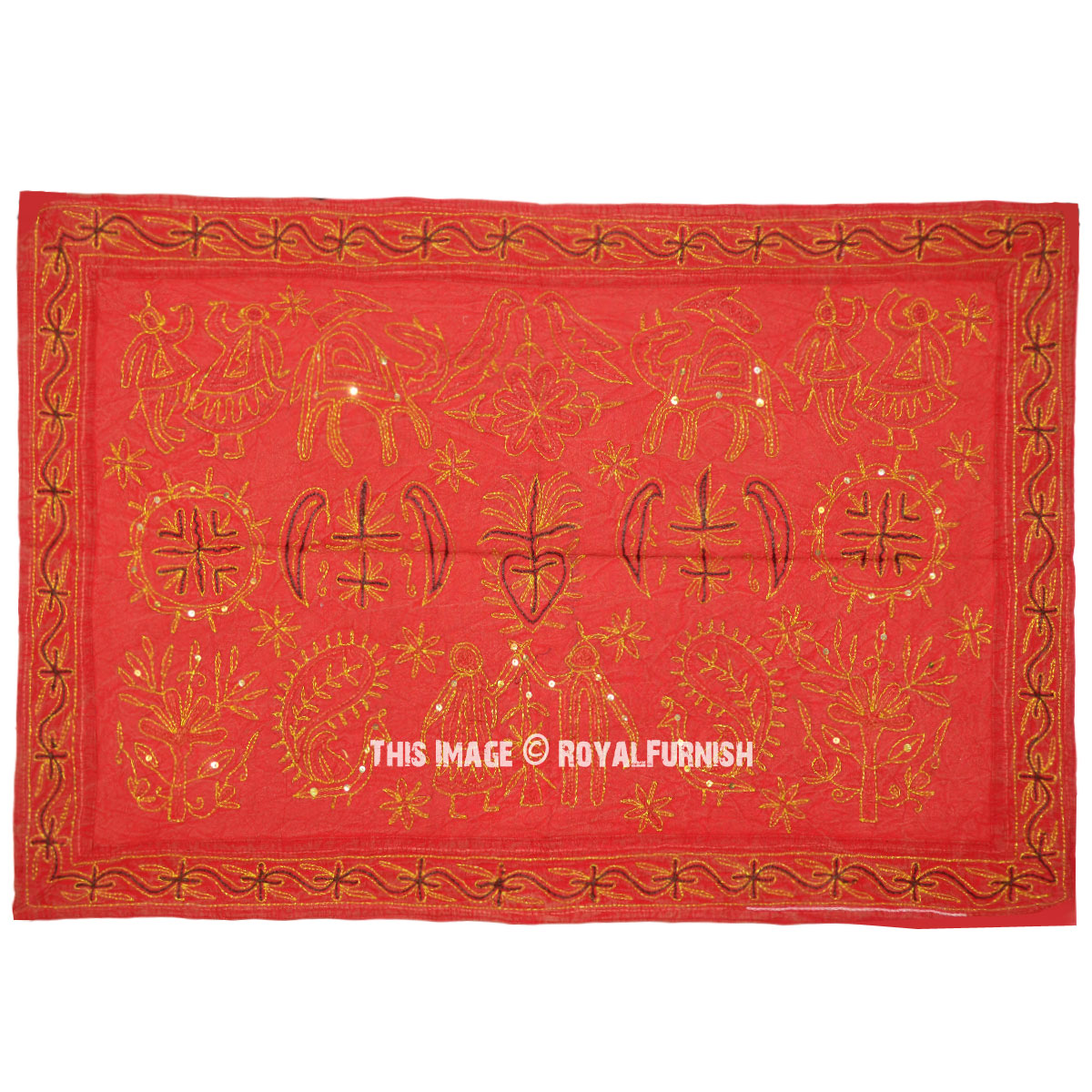 Unique One Of A Kind Red Ari Embroidered Fabric Wall