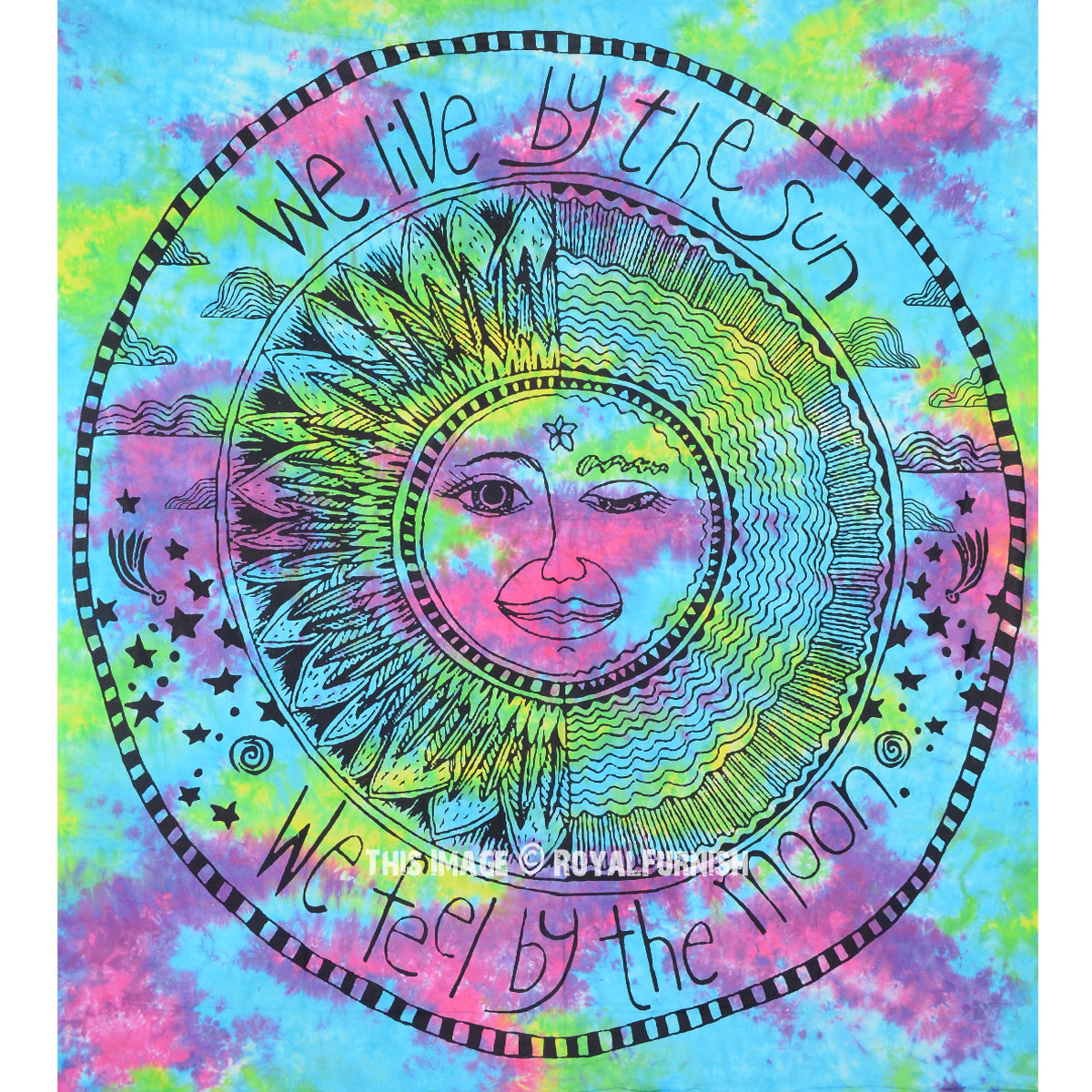 Turquoise Multi Tie Dye Colorful Sun Moon Yoga Tapestry
