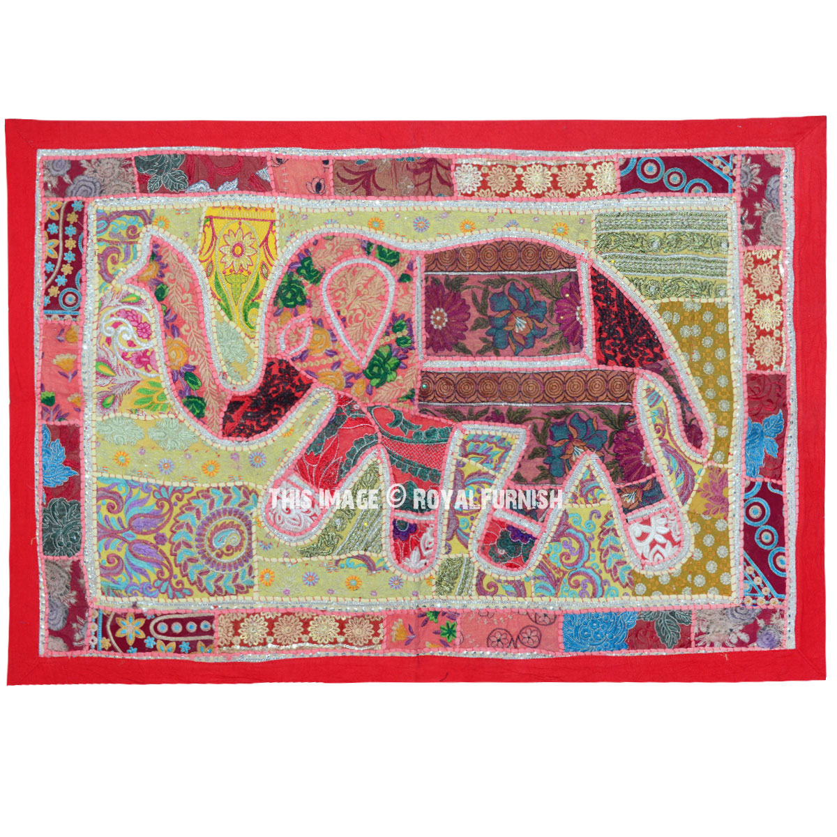 Red Vintage Multi Patchwork Elephant Tapestry Wall Hanging