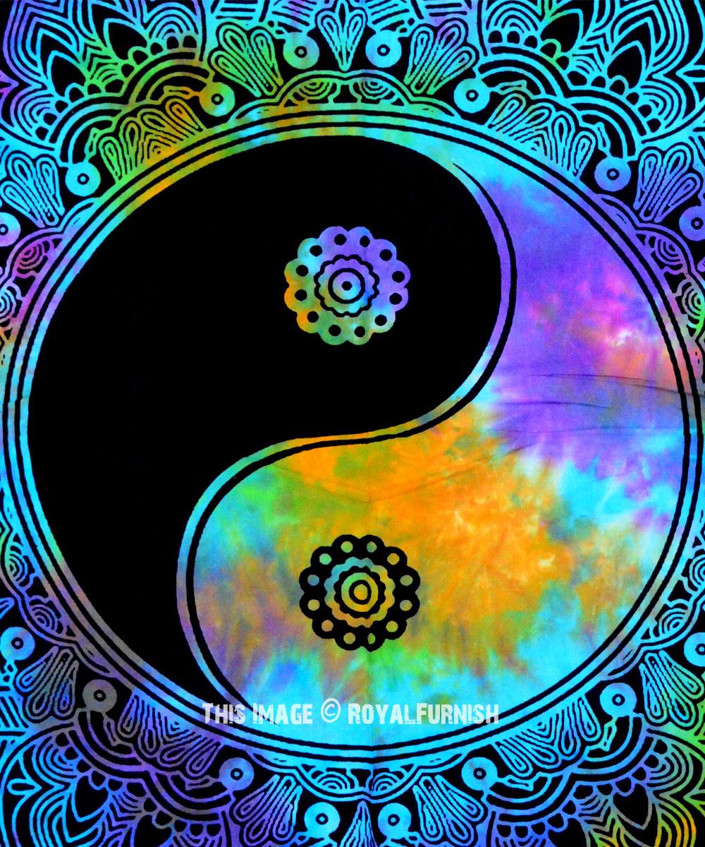 Twin Multi Tie Dye Yin Yang Peace On Earth Mandala Wall