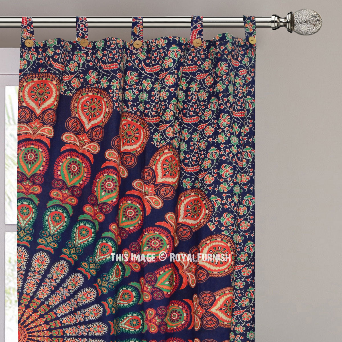 Blue Boho Mandala Curtains Set Of 2