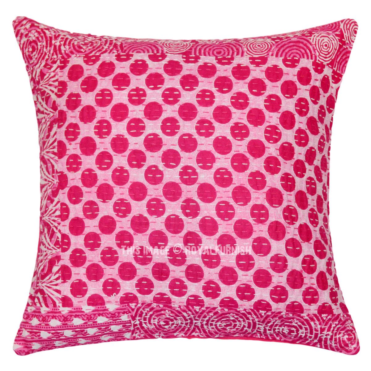 Pink Polka Dots Kantha Throw Pillow Cover Royalfurnish Com
