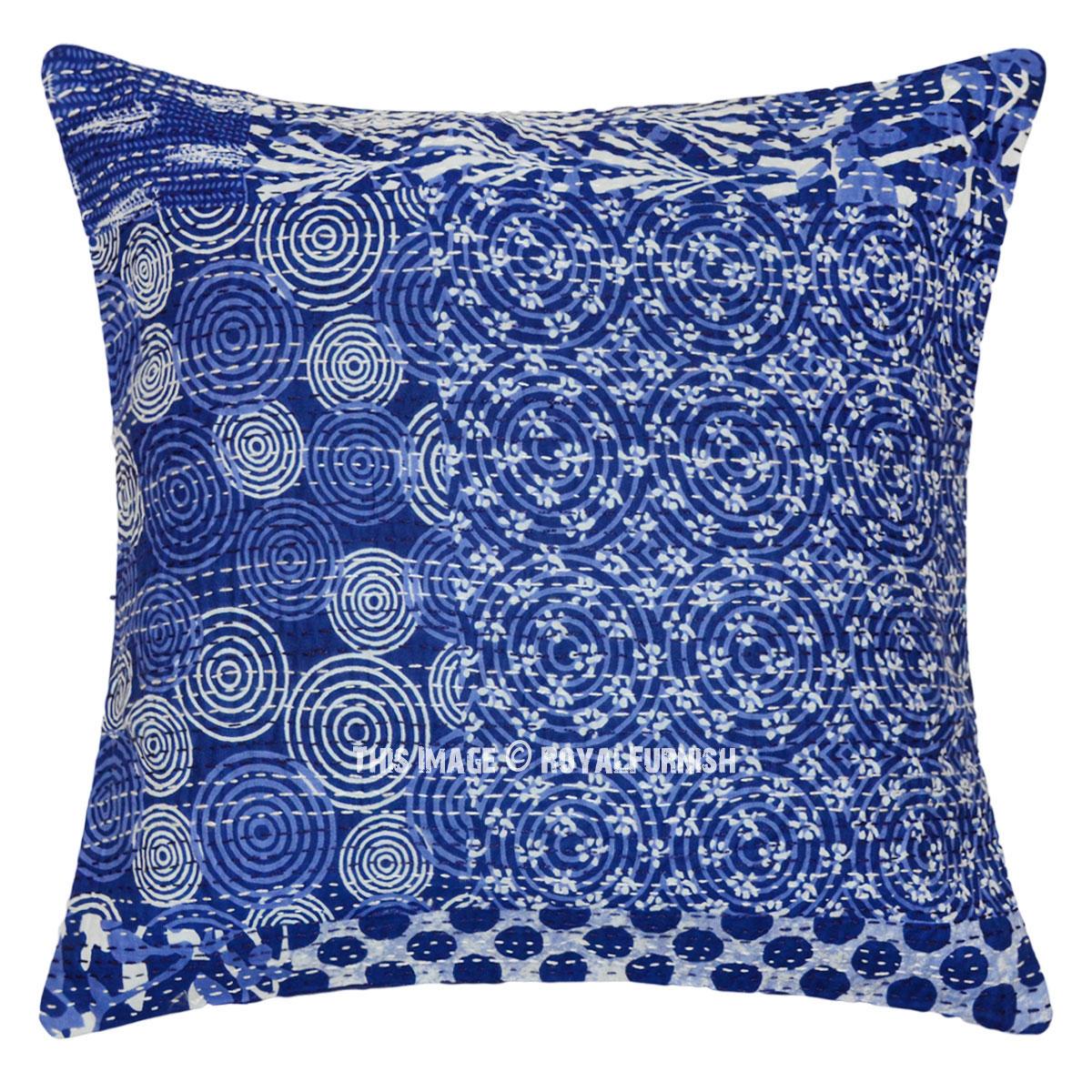 Indigo Blue Meader Throw Pillow Cover Royalfurnish Com