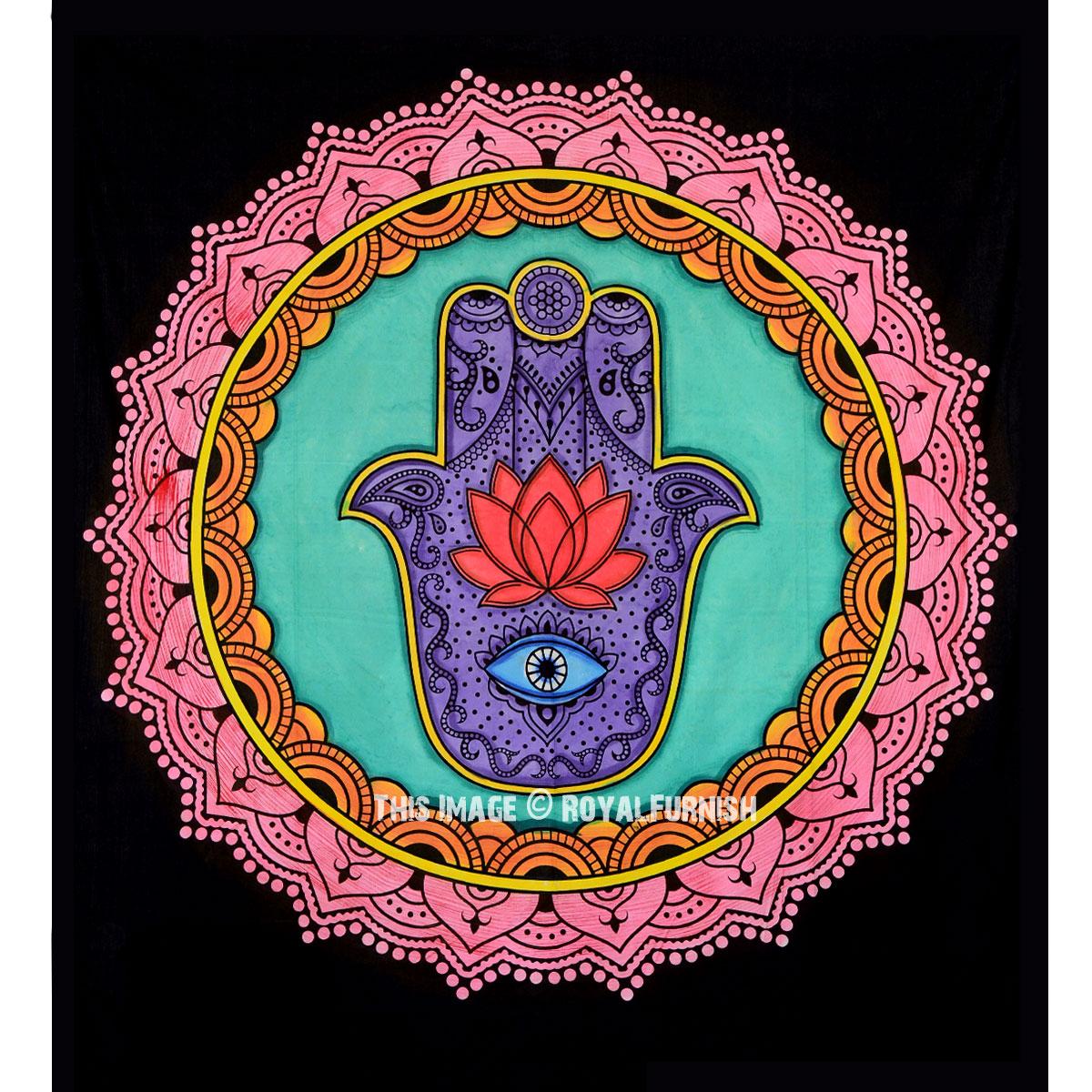 Multi Colorful Lotus Hand Hamsa Wall Tapestry