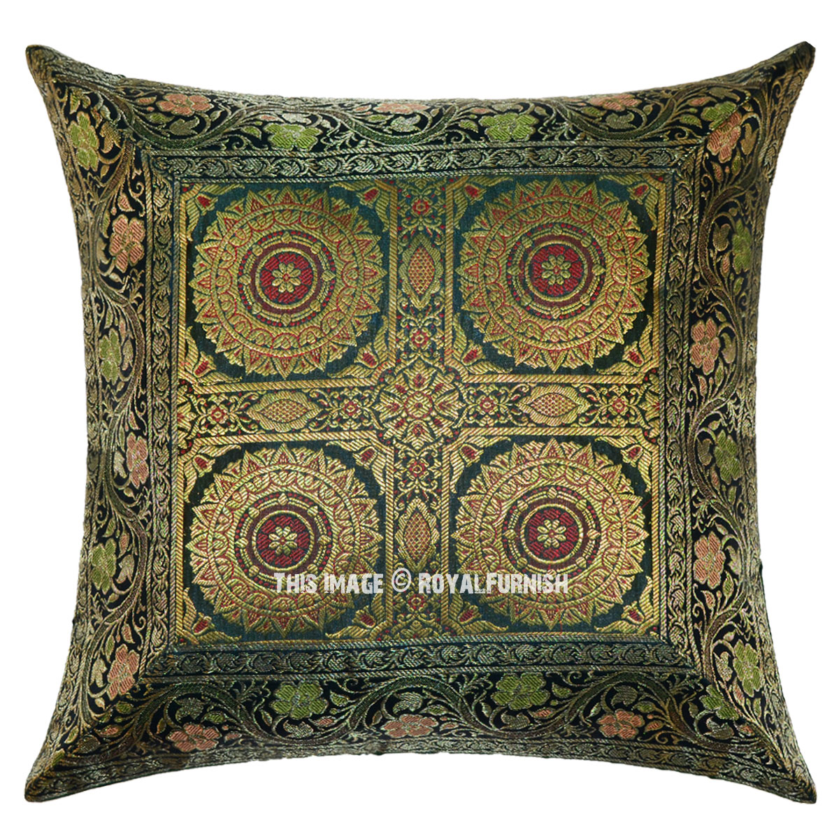 Dark Green Decorative Floral Mandala Four Circle Silk Brocade Throw Pillow Case