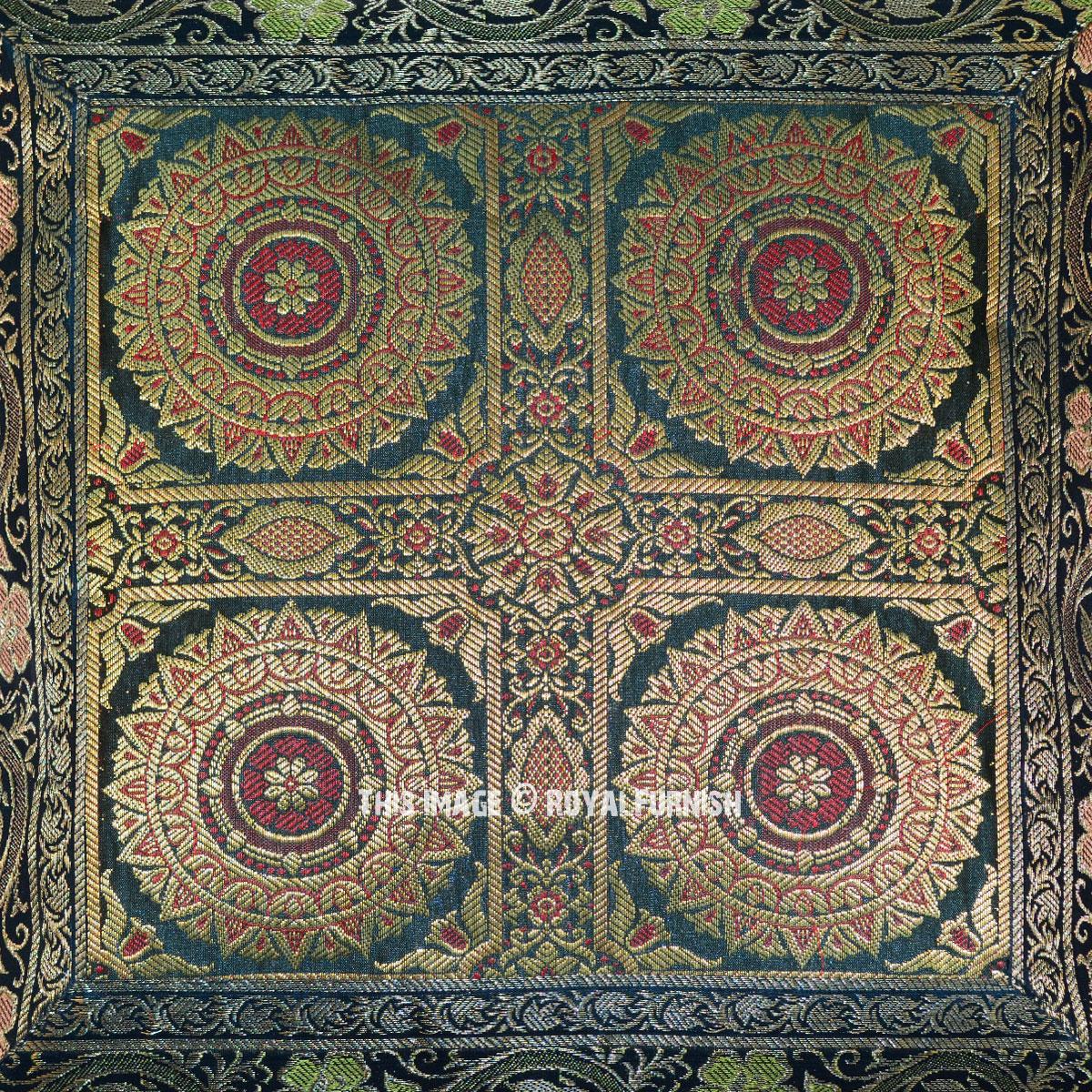 Dark Green Decorative Floral Mandala Four Circle Silk
