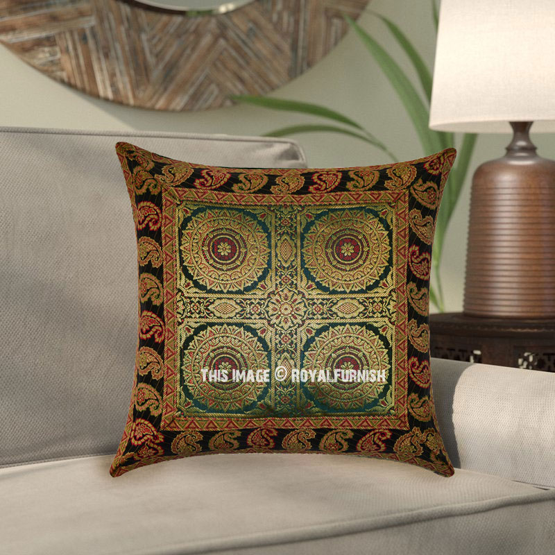 dark green four mandala silk brocade decorative throw pillow sham. Black Bedroom Furniture Sets. Home Design Ideas