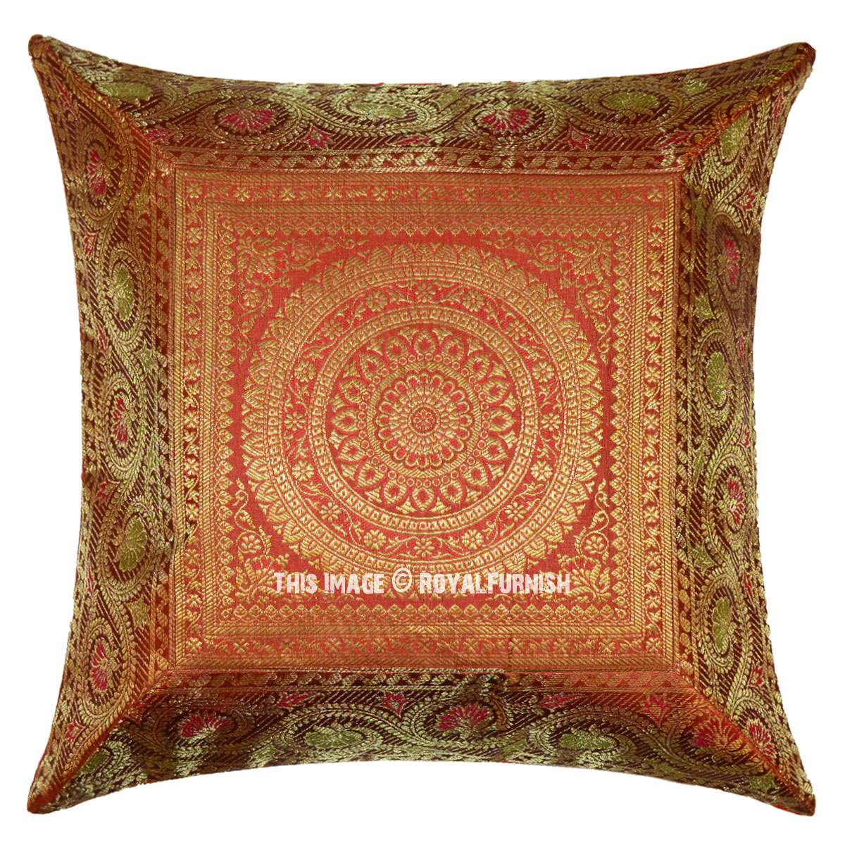 Orange Mandala Circle Silk Brocade Throw Pillow Case