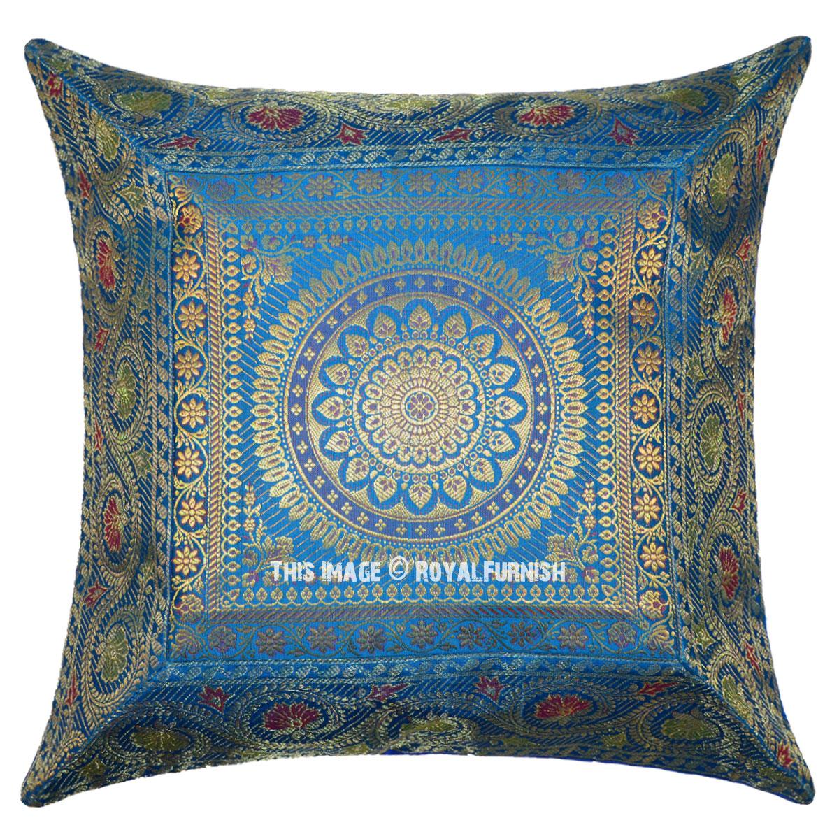 Turquoise Decorative Unique Mandala Silk Throw Pillow Case