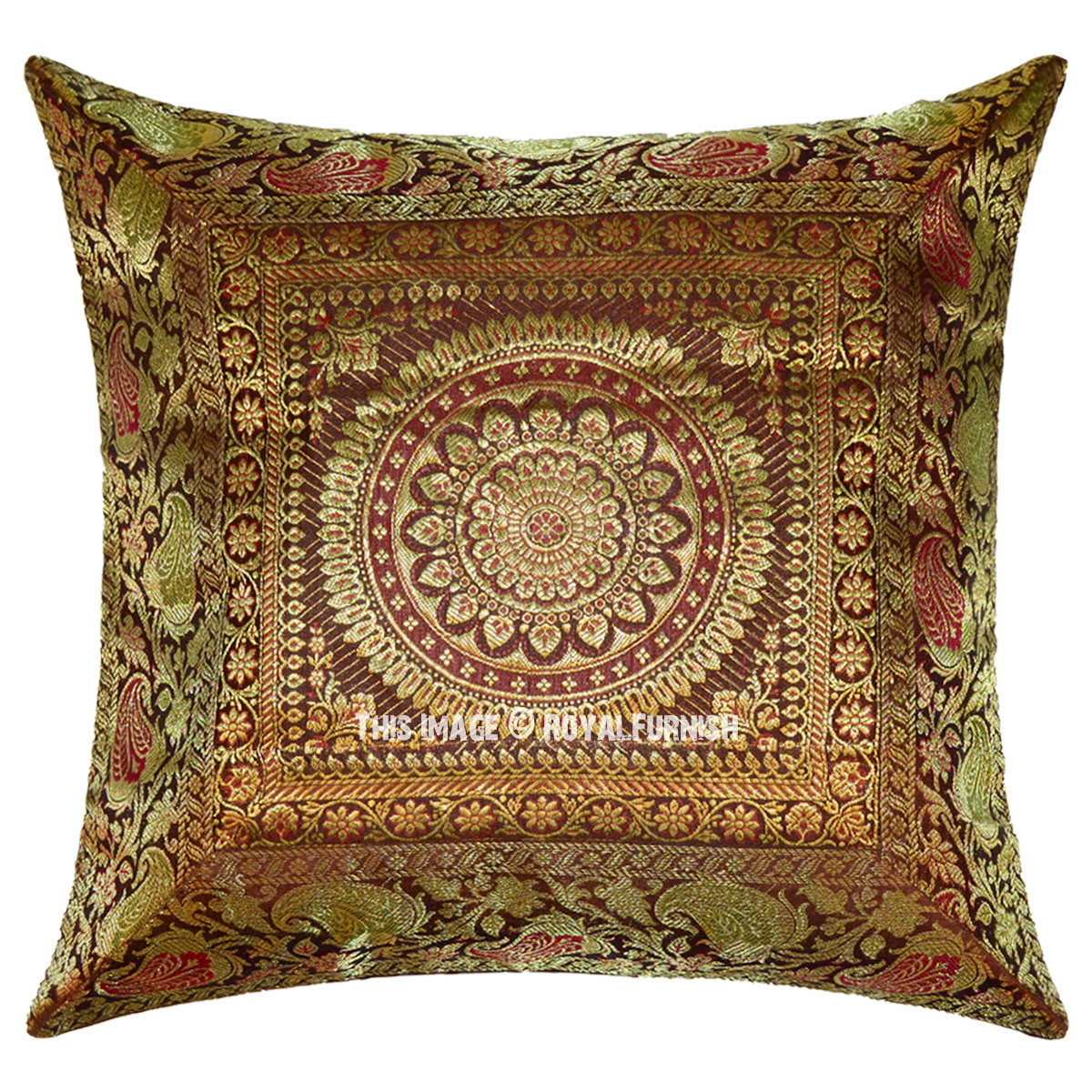 16x16 Inch Decorative Mandala Brown Silk Brocade Throw