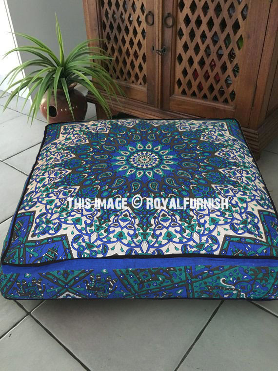 Blue Big Star Square Floor Pillow Cover 36