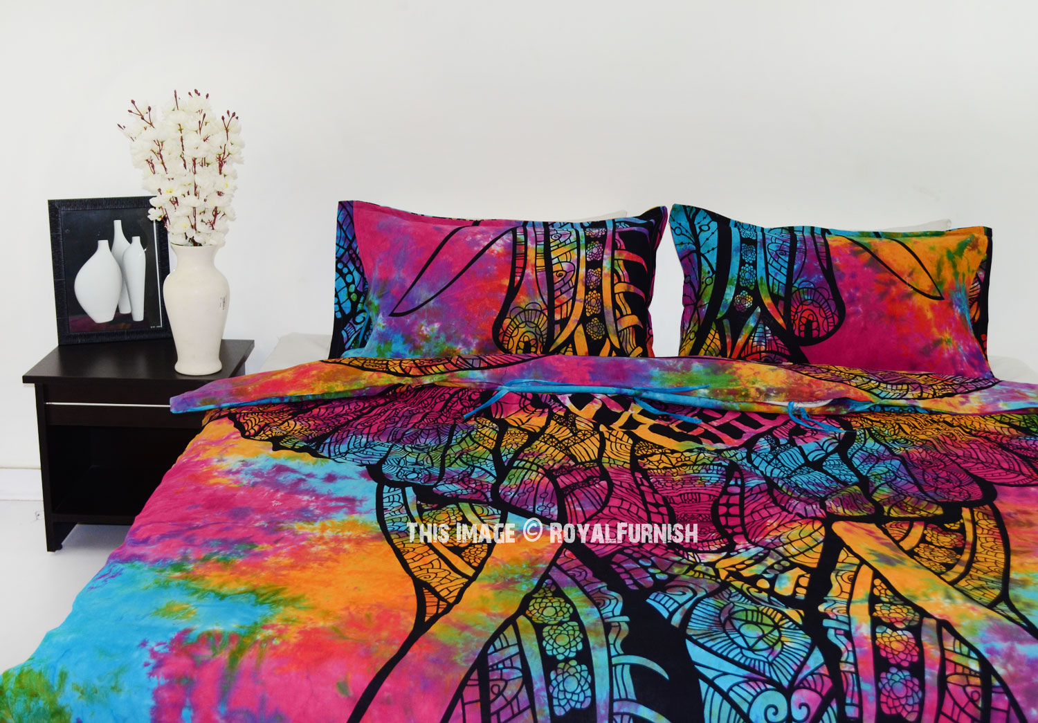 Multi Tie Dye Asian Elephant Duvet Cover With Set Of Two