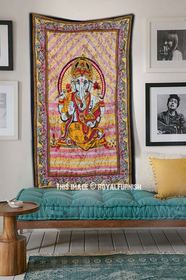 Red Amp Yellow Elephant God Ganesha Tapestry Wall Hanging