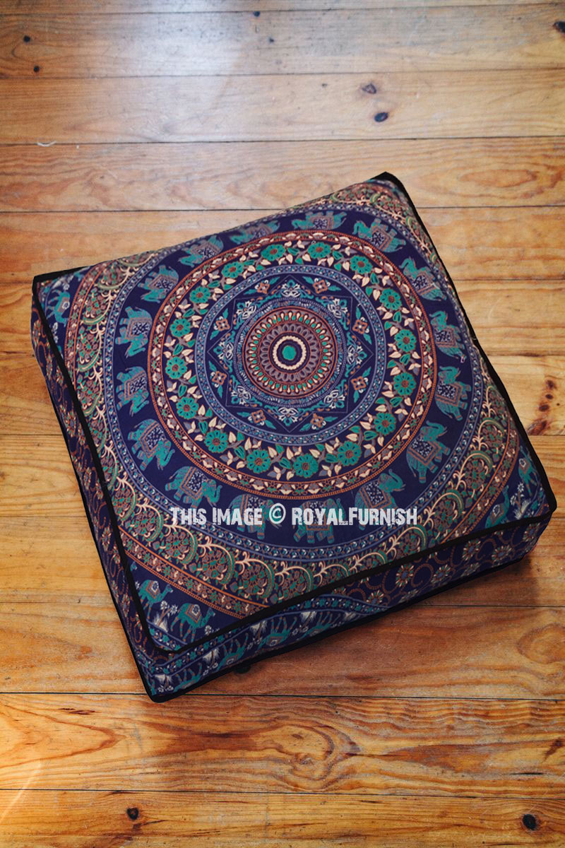 Blue Bohochic Elephant Mandala Square Floor Pillow Cover