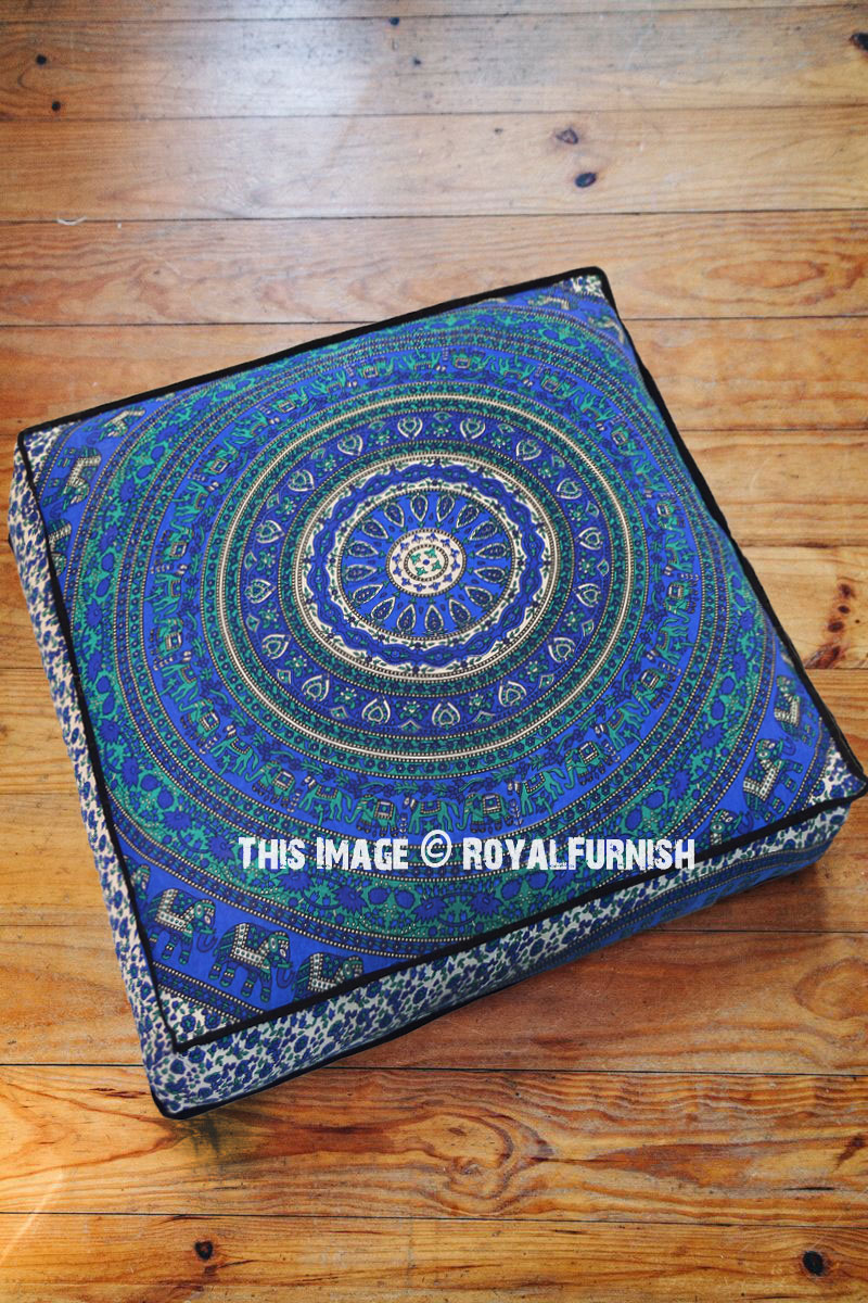 Floor Pillow Covers 25x25 : Blue Spiral Elephants Rings Mandala Square Floor Pillow Cover 36x36 - RoyalFurnish.com