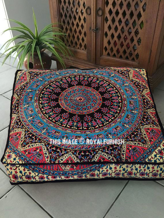 Beige Multi Kerala Medallion Square Floor Pillow Cover