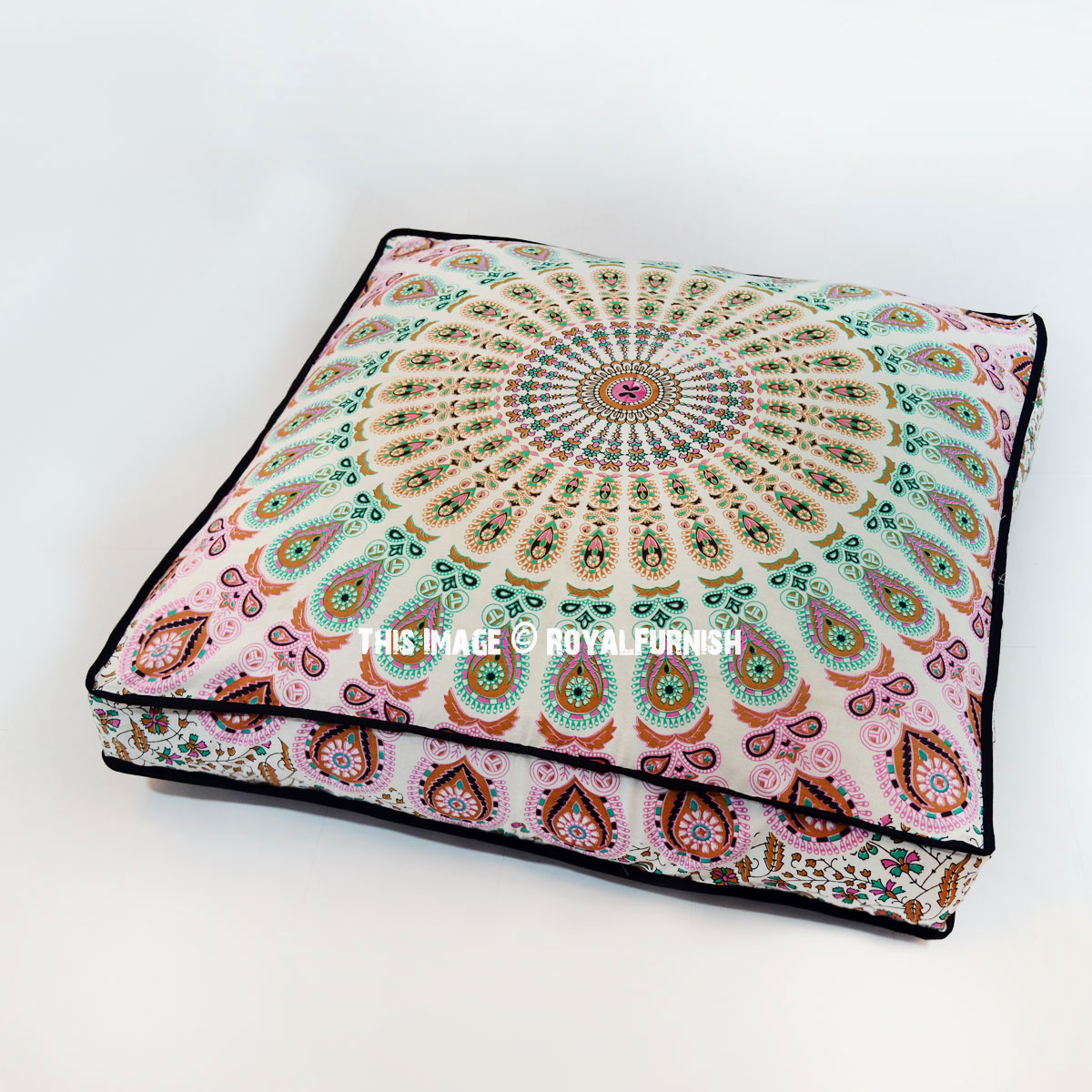 White Peacock Mandala Square Floor Pillow Cover 36x36 Inch