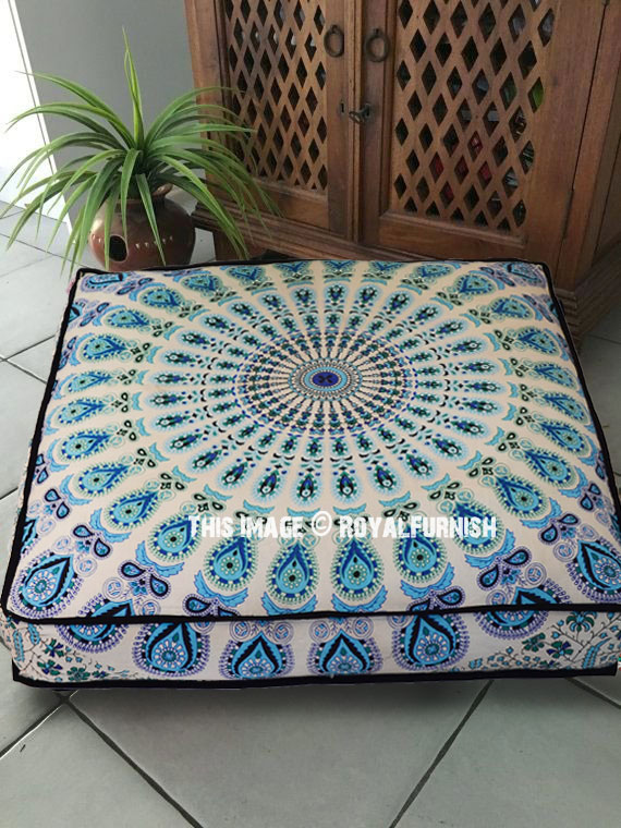 White Amp Blue Mandala Square Floor Pillow Cover 36 Quot Inch