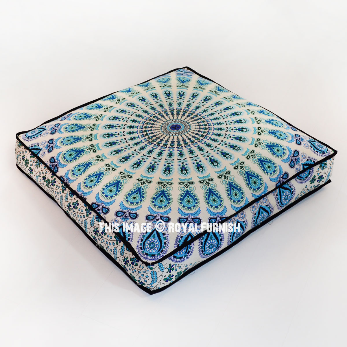 Floor Pillow Covers 25x25 : White & Blue Mandala Square Floor Pillow Cover 36