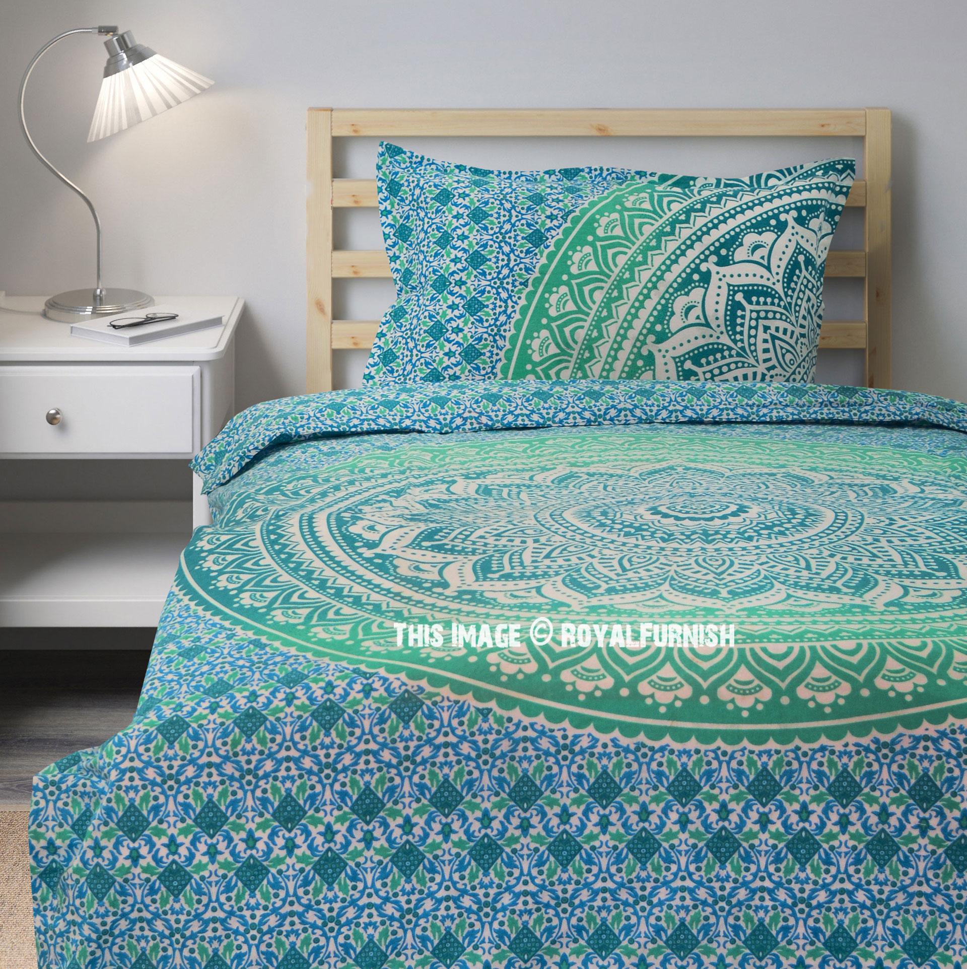 Green Blue Mandala Bedding Duvet Cover With One Pillow