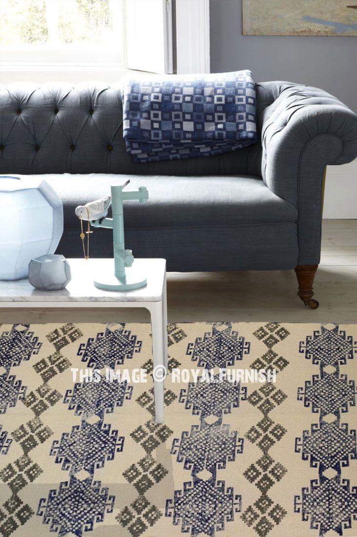 Beige Multi Printed Handwoven Kilim Rug Cotton Floor