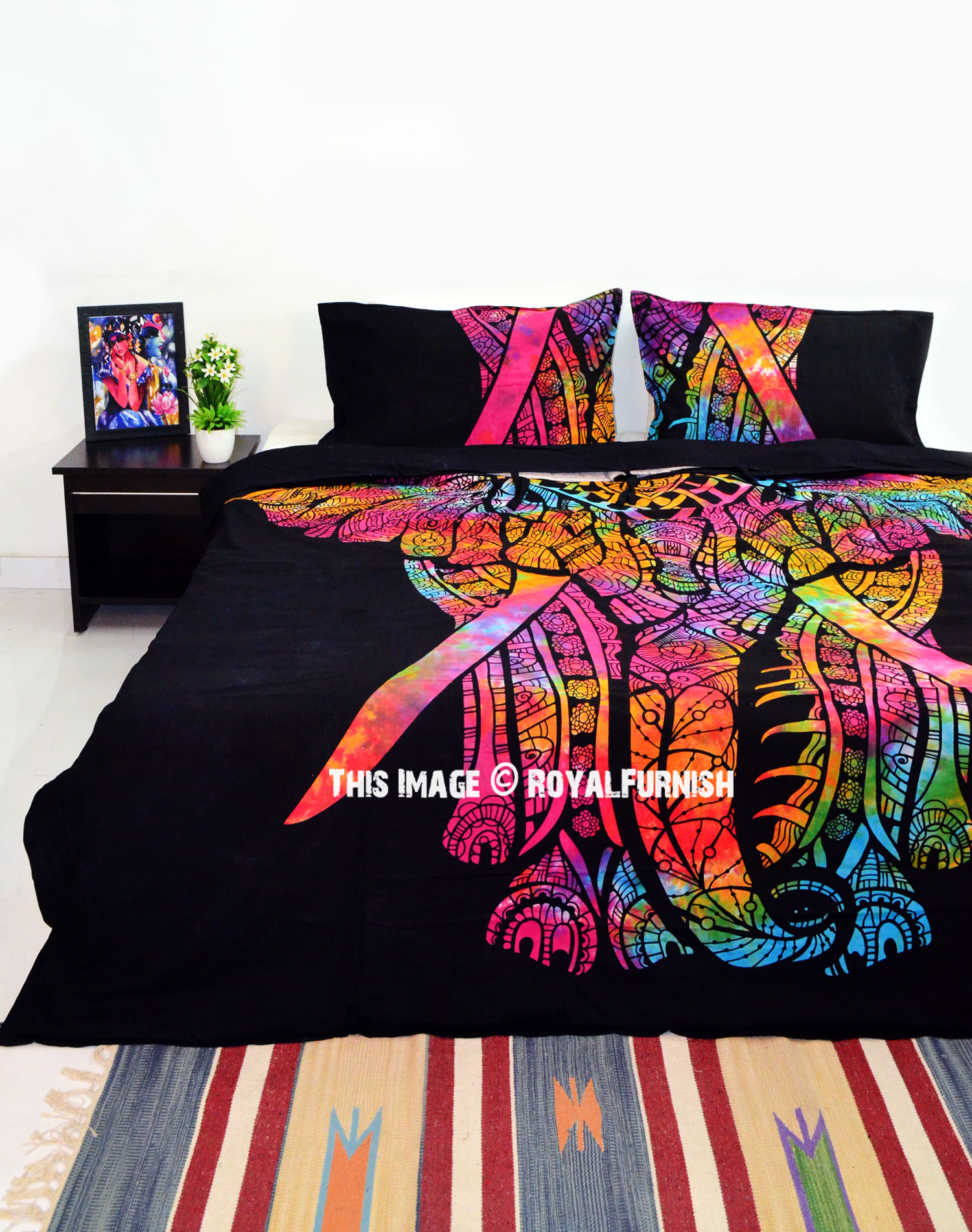 Black Tie Dye Asian Elephant Duvet Cover Set With 2 Pillow Cover Royalfurnish Com