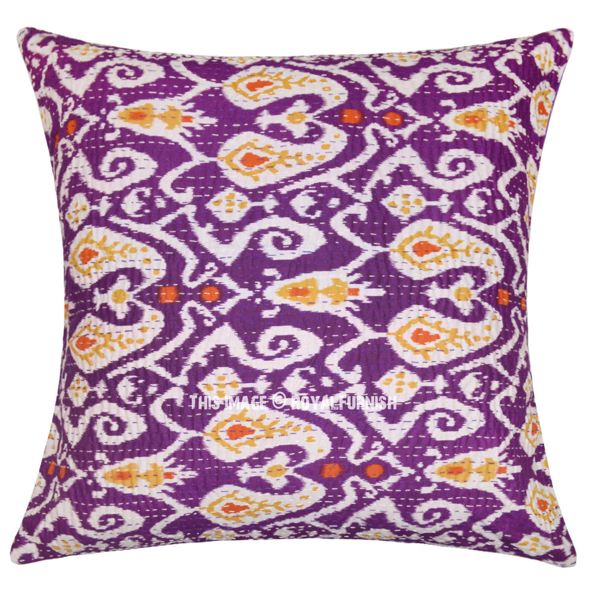 Large Purple Decorative Paisley Pattern Cotton Throw Pillow Cushion Cover - RoyalFurnish.com