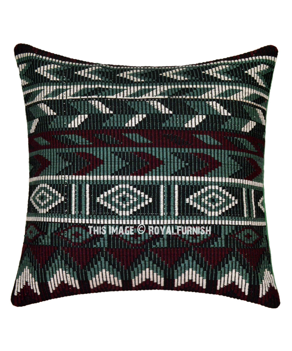 Decorative Zigzag Cotton Boho Rugs Pillow Cover 16x16 Inch