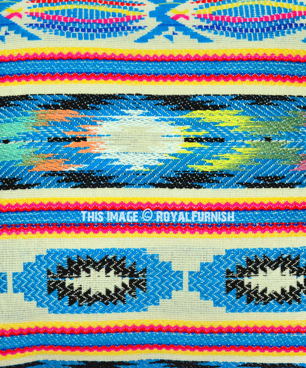 Turquoise Tribal Color Boho Rugs Pillow Cover 16x16 Inch