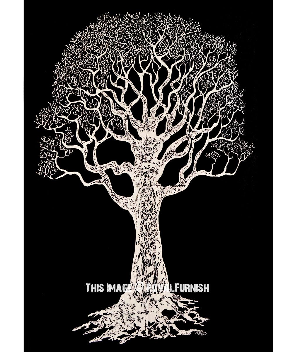 Black White Khejri Tree Of Life Wall Tapestry
