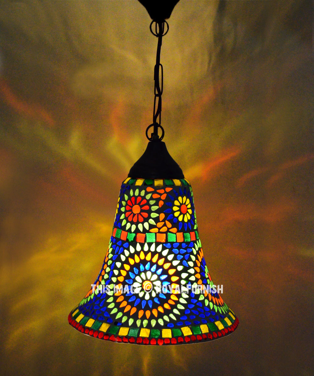 Decorative Boho Mosaic Trumpet Ceiling Pendant Light