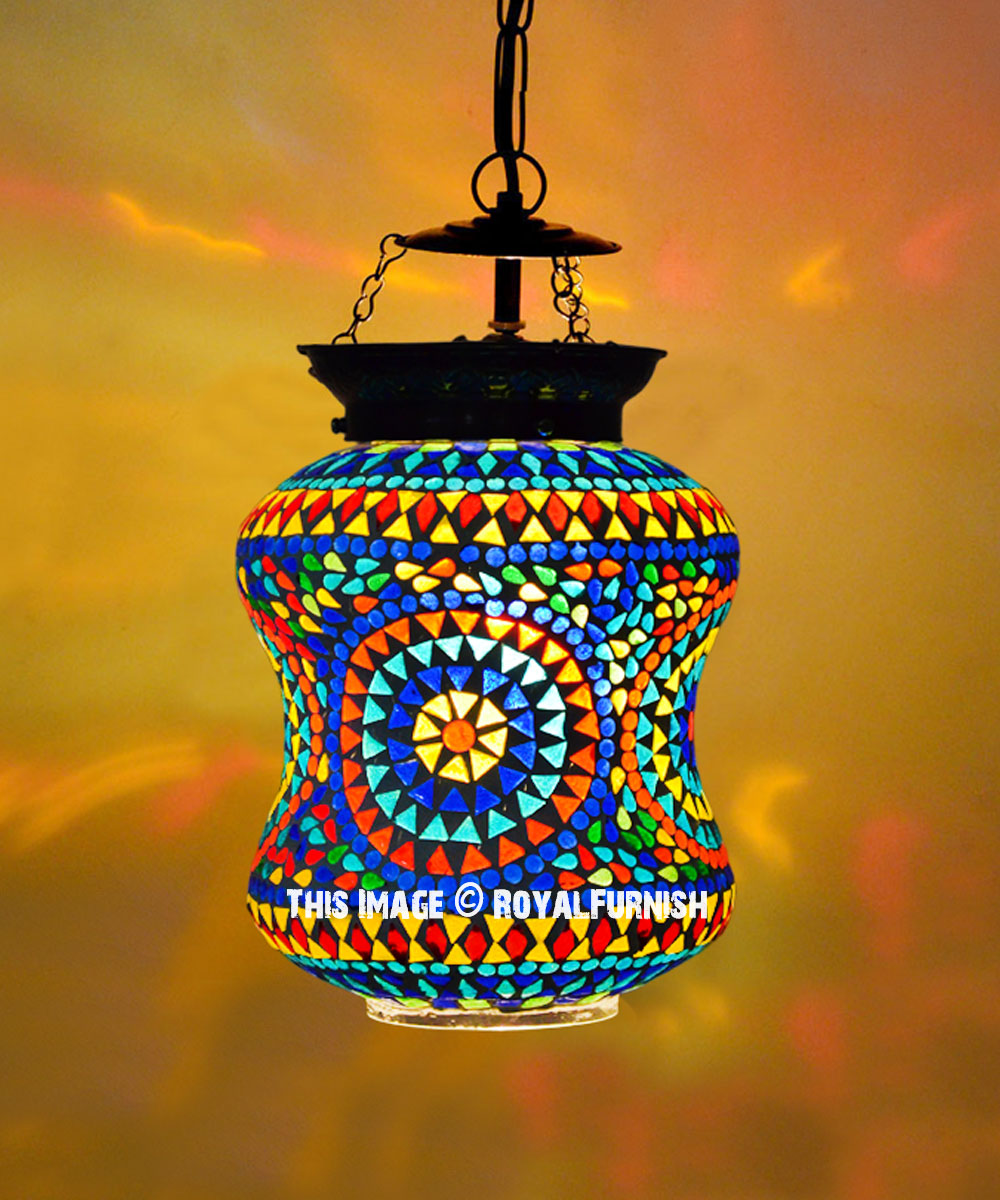 Turkish Mosaic Glass Pendant Lantern For Home Decoration