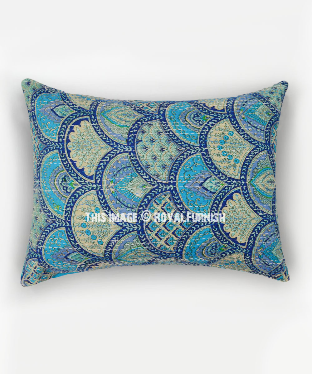 Turquoise Sea Waves Embroidered Pillow Cover Set Of 2