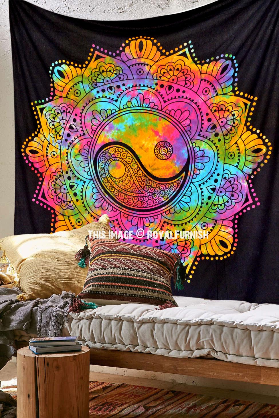 Colorful Yin Yang Mandala Wall Tapestry Royalfurnish Com