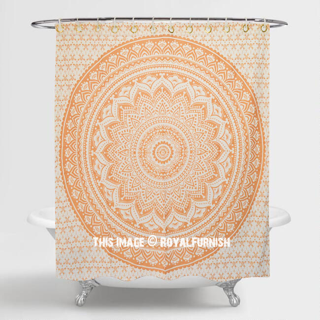 White Amp Gold Daisy Floral Cotton Shower Curtain 70 Inch