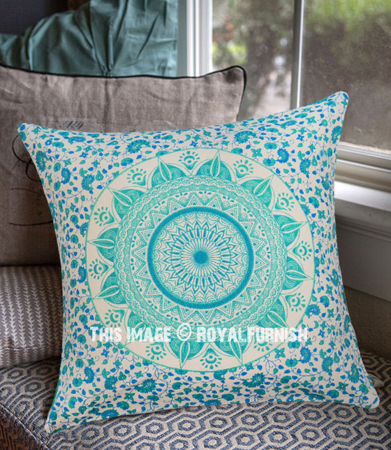 Sea Green New Ombre Mandala Cotton Throw Pillow Case