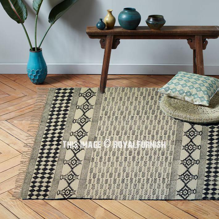 Indian Block Print Area Kilim Rug Carpet Cotton Dhurrie