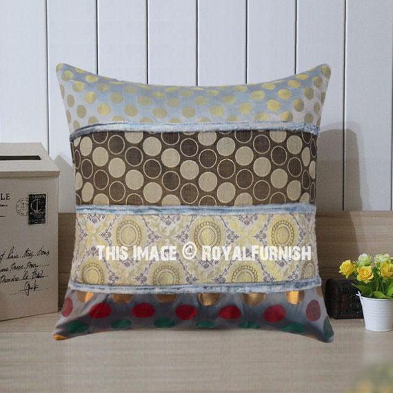 Unique Grey Silk Square Pillow Cover 16 Inch