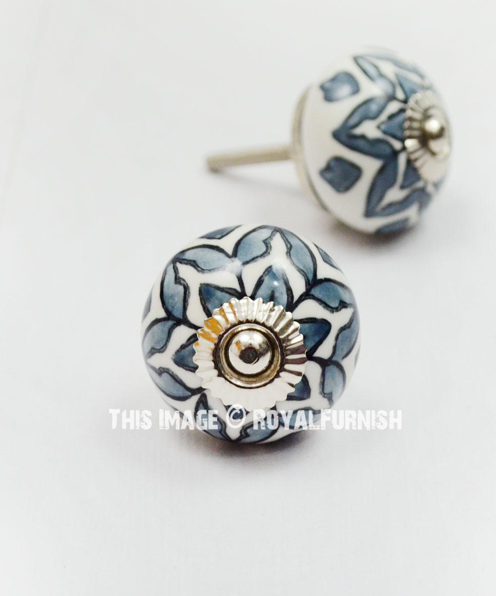 Grey Flower Design Ceramic Cabinet Knobs Set Of 2