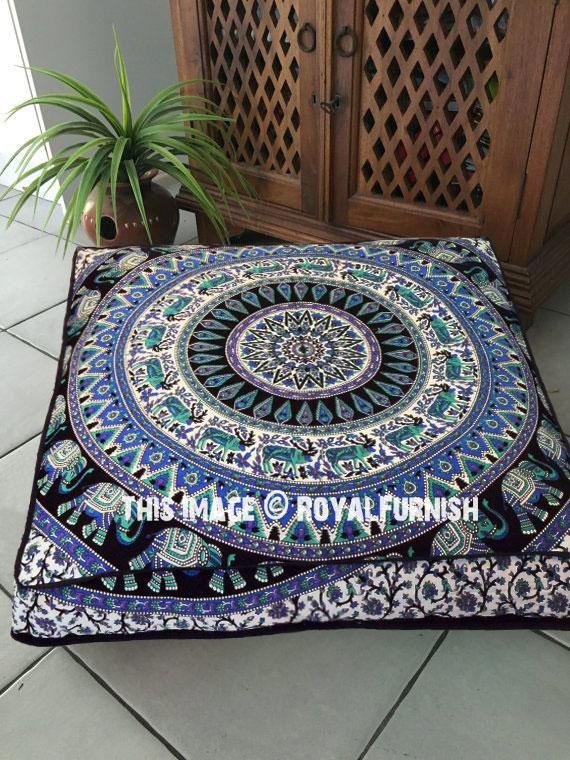 Royal Elephant Medallion Square Floor Pillow Cover Boho