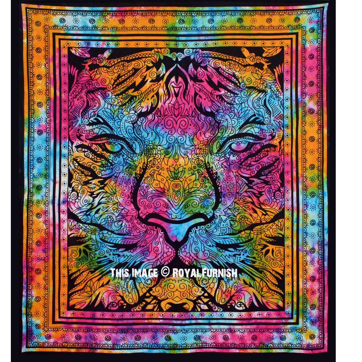 Colorful Tiger Tapestry Wall Hanging
