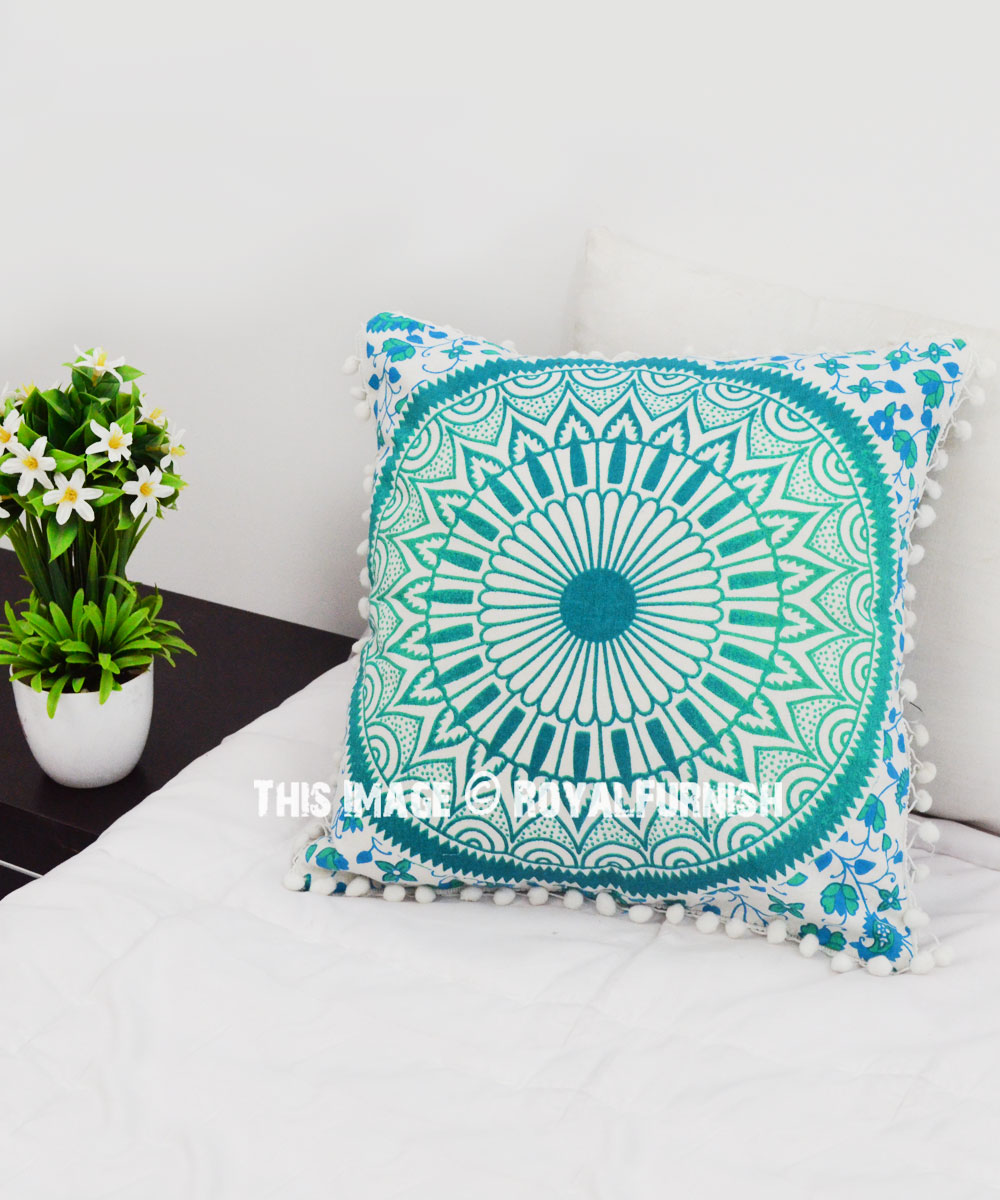 Sea Green Pom New Ombre Mandala Throw Pillow Cover Royalfurnish