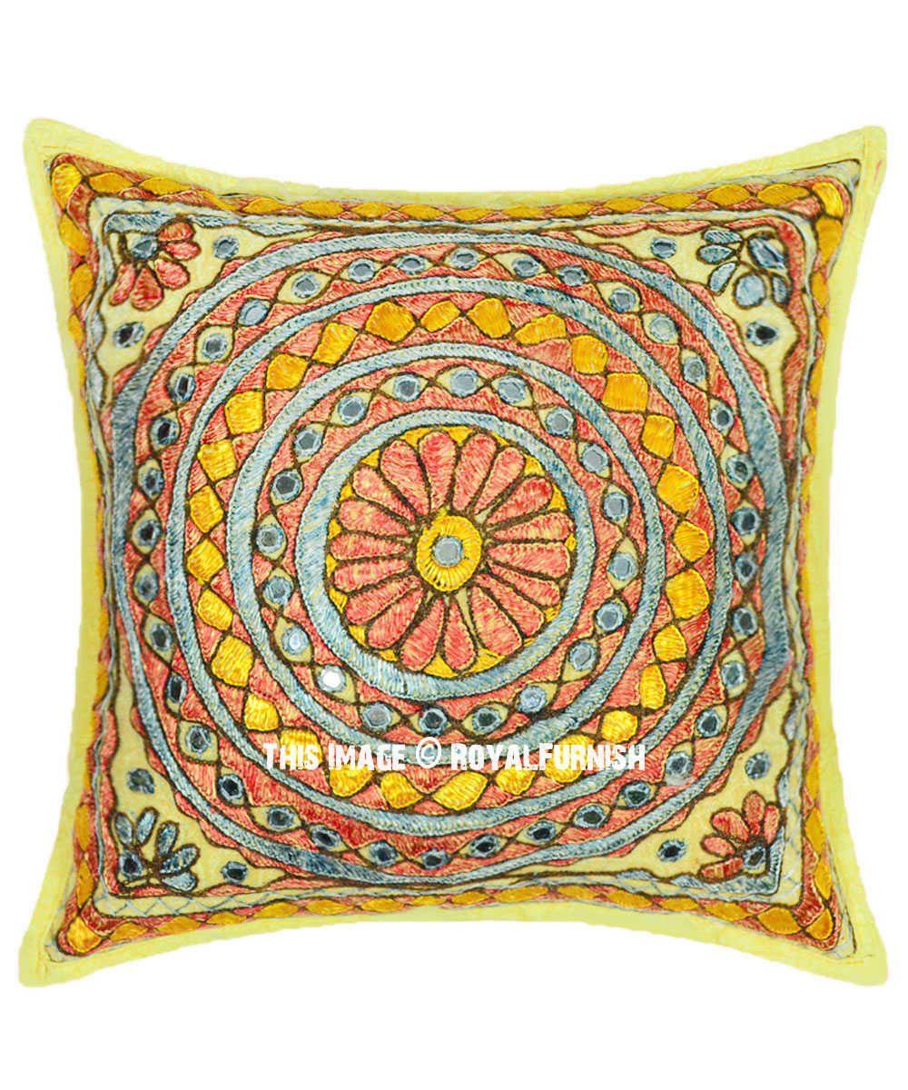 Yellow Indian Round Mirror Circle Bohemian Square Throw Pillow Cover 16x16 Inch Royalfurnish Com