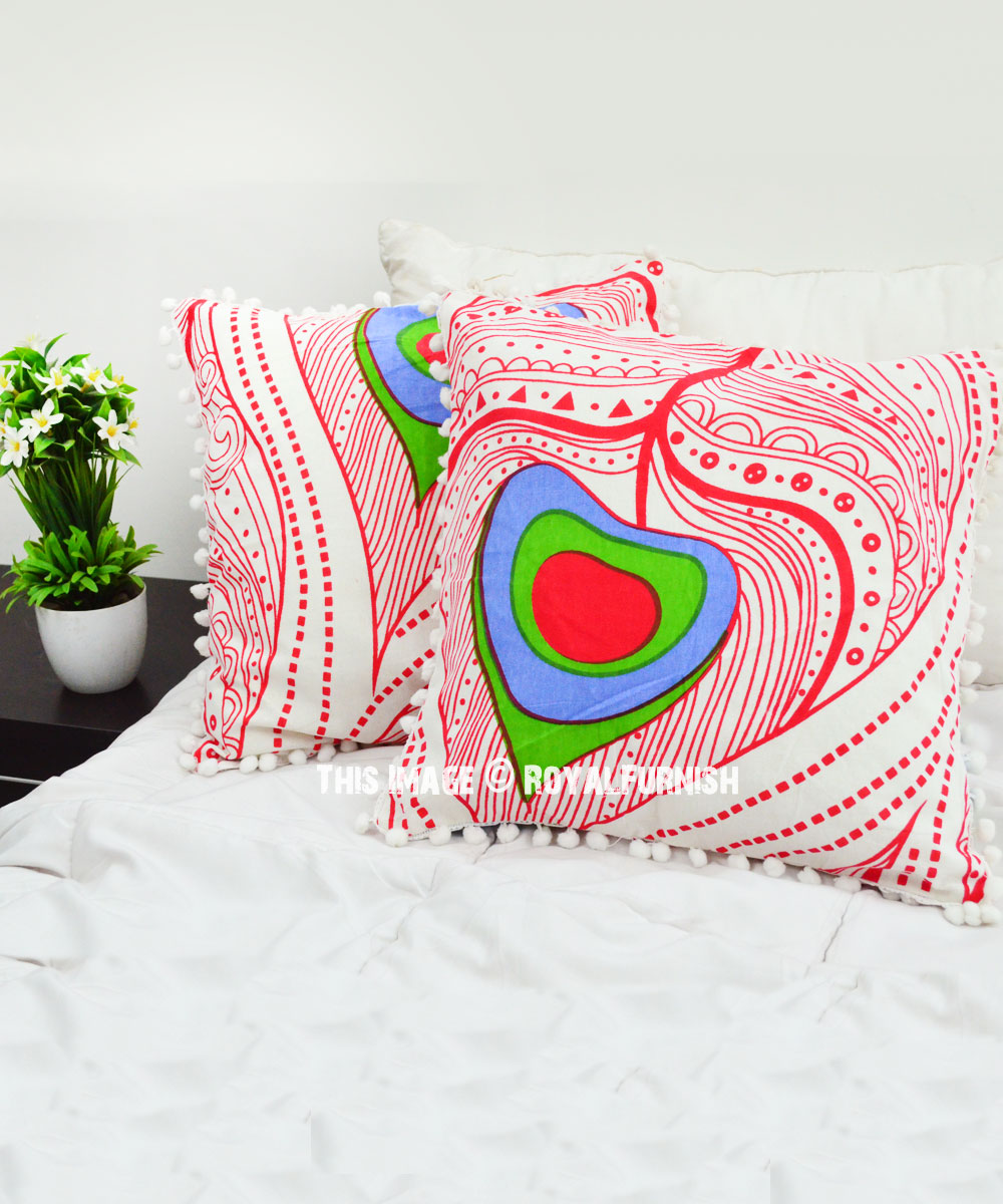 Decorative White Bohemian Eyespots Throw Pillow Cover Set
