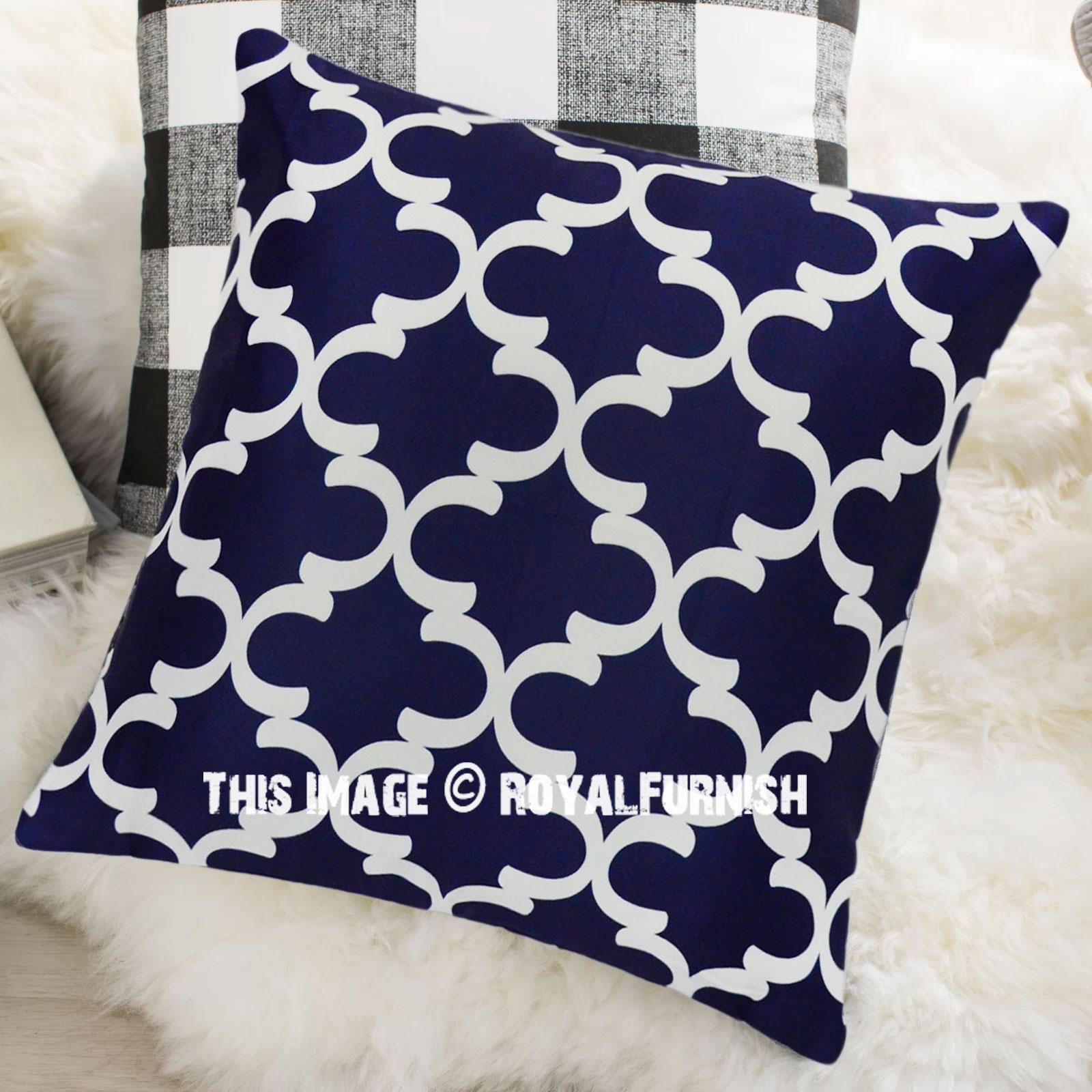 Blue Amp White Quatrefoil Canvas Decorative Throw Pillow